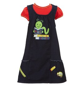 Bonnie Jean Denim And Red Learning Worm Dress Set