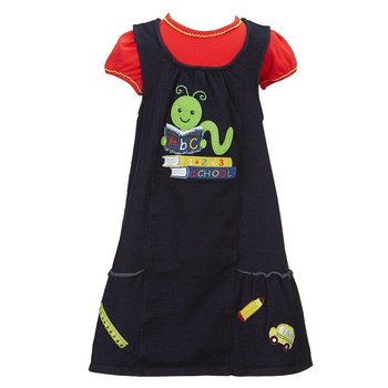 Bonnie Baby Denim And Red Learning Worm Dress Set