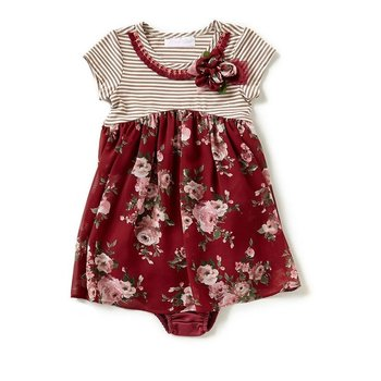 Bonnie Baby Burgundy Floral Printed Dress