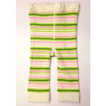 K & K Interiors, Inc. White, Pink, & Green Striped Leggings