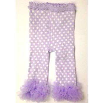 K & K Interiors, Inc. Lavender and White Polka Dot Legging