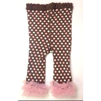 K & K Interiors, Inc. Brown Leggings w/ Pink & White Polka Dots