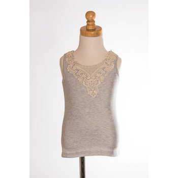 MLKids Grey Crochet Detail Tank Top Tween