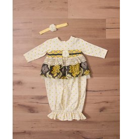 Peaches 'n Cream Mustard Grey Ruffled Gown with Matching Bow