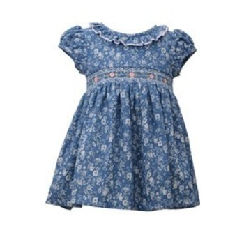 Bonnie Baby Ruffled Neck Blue Dress Floral Print and Pink Embroidered Flower Accents