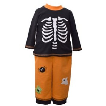 Matt's Scooter Halloween Outfit with Skeleton Top and Orange Bottom Spider and Frankenstein Patches