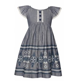 Bonnie Jean Chambray Embroidered Dress