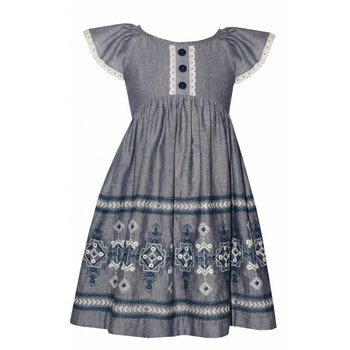 Bonnie Baby Chambray Embroidered Dress