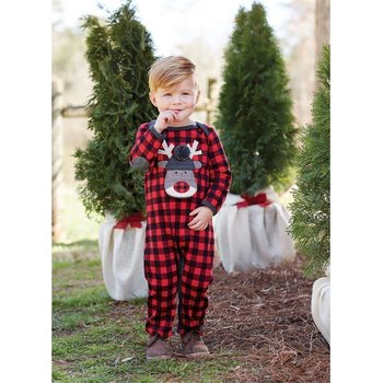 Mud Pie Open Mouth Reindeer Plaid One Piece