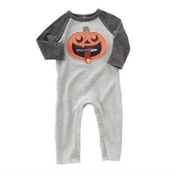 Mud Pie Zipper Mouth Pumpkin Romper