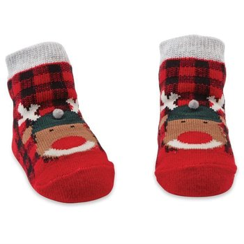 Mud Pie Buffalo Plaid Reindeer Socks