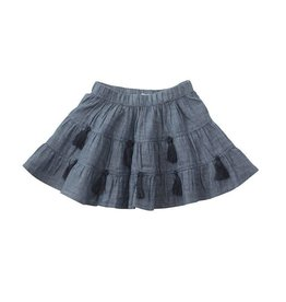 Mud Pie Chambray  Blue Tassel Skirt