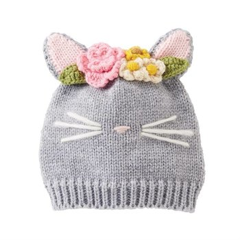Mud Pie Kitty Knit Grey Hat