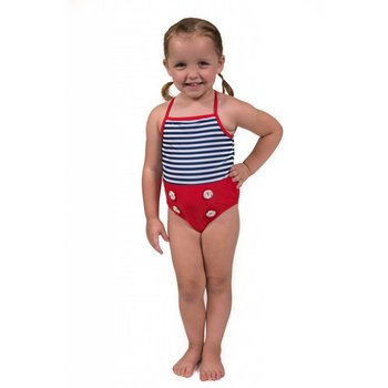 Flap Happy Red, Blue & White Stripped Button Bathing suit