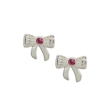 Cherished Moments Sterling Silver Bow w/ Pink Earring