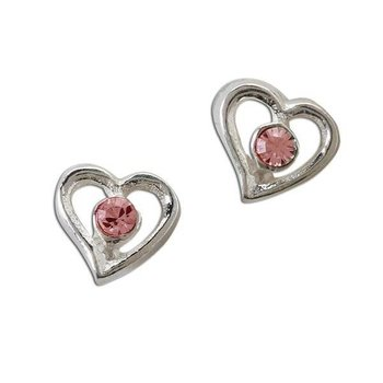 Cherished Moments Sterling Silver Heart Pink Crystal Earring