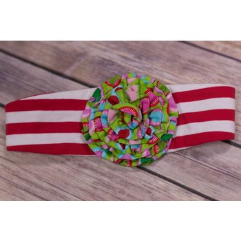 Red and White Stripped Headband with Ruffle Pom
