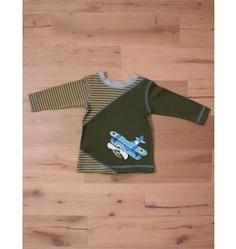 Wally & Willie Olive Striped Airplane Shirt