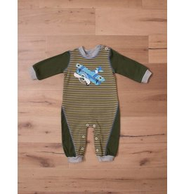 Wally & Willie Olive Striped Airplane Romper