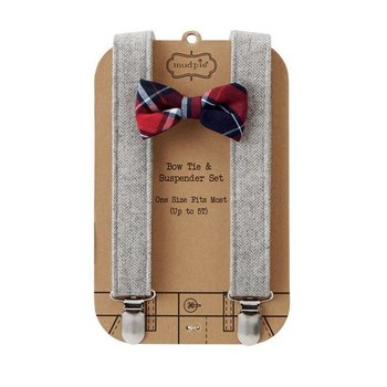 Mud Pie Plaid Bow Tie and Suspender Set