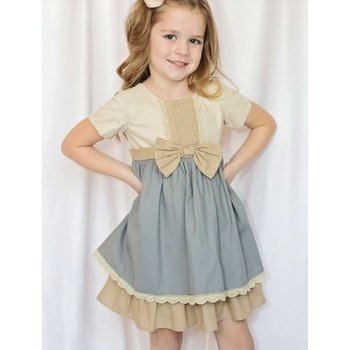 Evie's Closet Wheat & Slate Dress with Bow and Pleat Detail