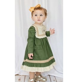 Evie's Closet Olive Dress with Acorn Embroidery