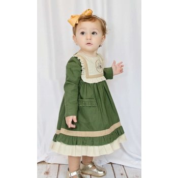 Evie's Closet Hunter Green Dress with Acorn Embroidery