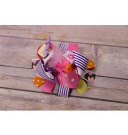 Dora the Explorer Pink Feathers Stripe/Polka Dot 4 in Boutique Bow
