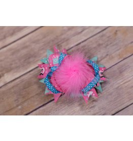 Hot Pink & Teal Love Feathered Bow