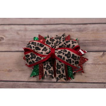 Cheetah Print Red Green and Silver 5 in. Boutique Bow