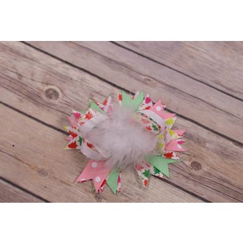 White Feathered Multi Colored Christmas Tree 3.5in Boutique Bow