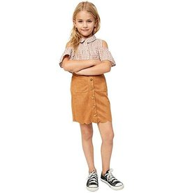 Hayden Camel Scallop Hem Faux Suede Skirt