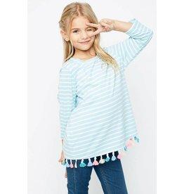 Hayden Sky Blue White Striped Tasseled Top