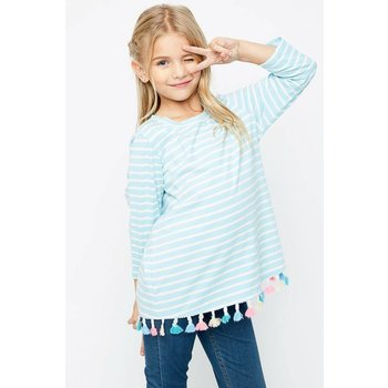Hayden Sky Blue White Striped Tasseled Top