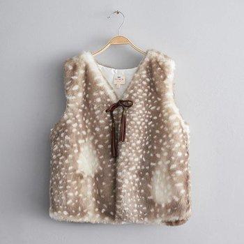 Hayden Faux Fur Cropped Vest Seal Print