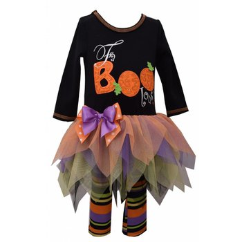 Bonnie Jean FaBOOlous Dress with Stripe Leggings