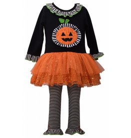 Bonnie Jean Black & White Stripped Pumpkin Outfit