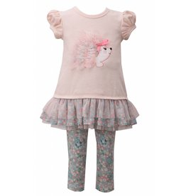 Bonnie Jean Light Pink Hedgehog Floral Tunic And Leggigng Set