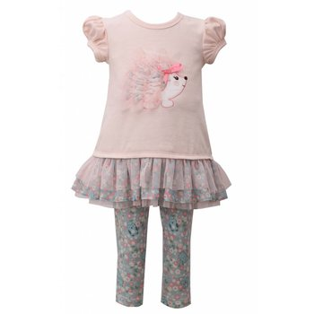Bonnie Baby Light Pink Hedgehog Floral Tunic And Leggigng Set