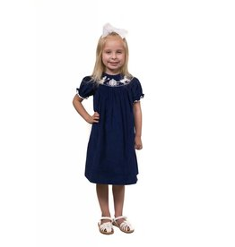 Banana Split Cinderella Blue Corduroy Smocked Dress