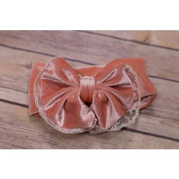 Cuddle Couture Peach Velvet and Lace Headband