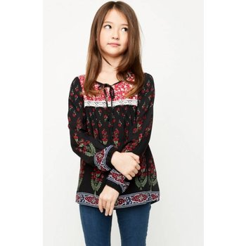 Hayden Floral Printed Tunic With Lace Detail