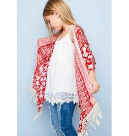 Hayden Red Floral Fringe Kimono