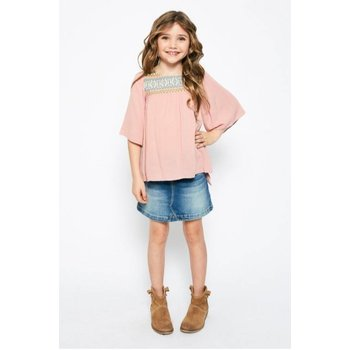 Hayden Dusty Pink Embroidered Flowy Top