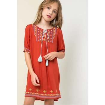 Hayden Tomato Tribal Embroidered Tunic Dress