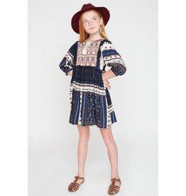 Hayden Navy Printed Peasant Dress