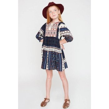 Hayden Navy Printed Peasant Dress