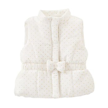 Mud Pie Ivory and Gold Puffer Bow Vest