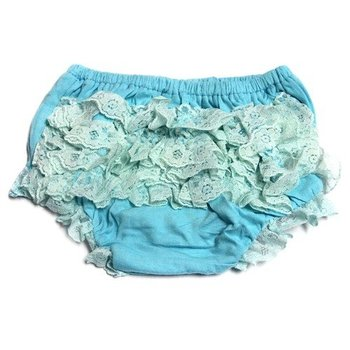 Aqua Cotton Lace Bloomers