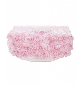 RuffleButts Light Pink Satin Rosette Bloomers